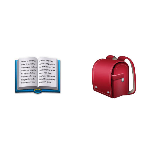 Emoji Quiz 3 answer: BOOK BAG