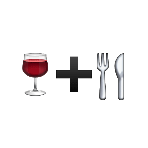 Emoji Quiz 3 answer: WINE AND DINE