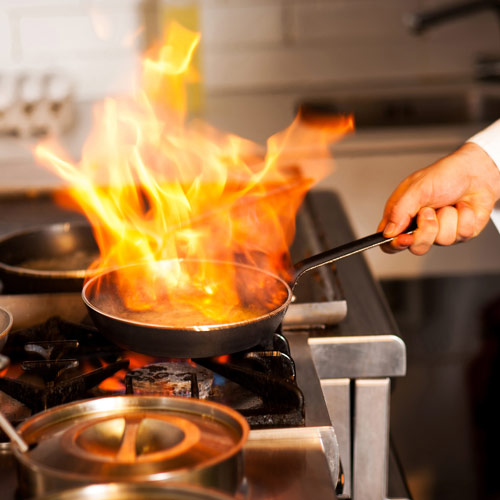 Cooking answer: FLAMBE