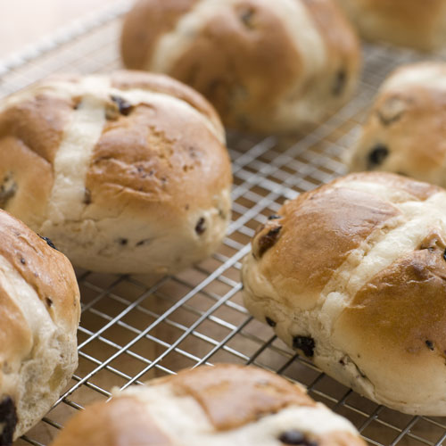Desserts answer: HOT CROSS BUNS