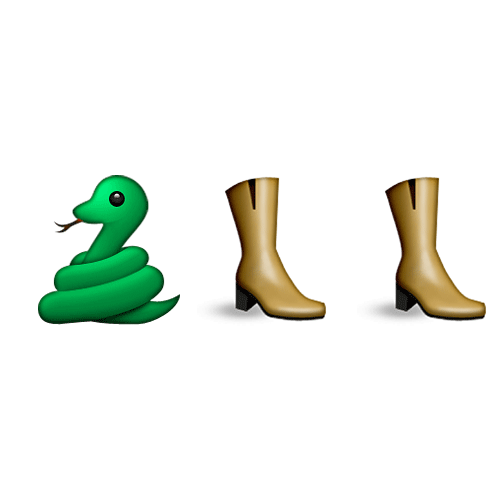 Emoji Quiz 3 answer: SNAKESKIN BOOTS