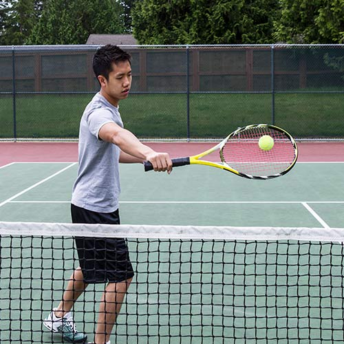 Tennis answer: BACKHAND VOLLEY