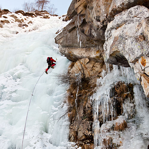 Winter Sports answer: ICE CLIMBING
