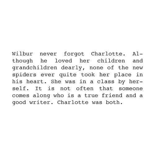 Books answer: CHARLOTTES WEB